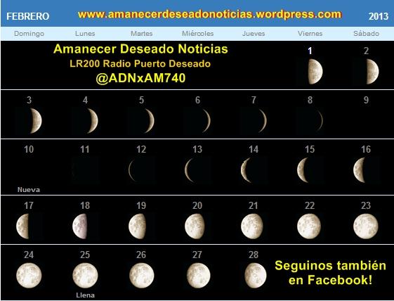 Fase lunar y tabla de mareas Febrero 2013 | Amanecer Deseado Noticias