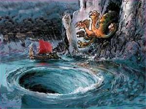 Escila y Caribdis, los monstruos marinos a los que se les adjudica aun hoy los remolinos del Estrecho de Mesina