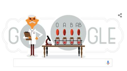 El doodle de Google que homenajea al doctor Karl Landsteiner.