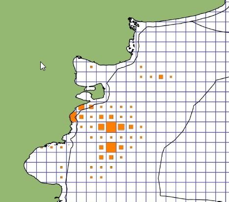 Zonas de mayores capturas hasta agosto. Fuente: INIDEP